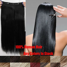 "Hair Extension One Piece Full Head Set Clip In Human Hair Extensions 20""100g"