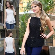 Women Slim Lace Chiffon Blouse Shirts Sleeveless Bodycon Blouse Tops Vest S-XXXL