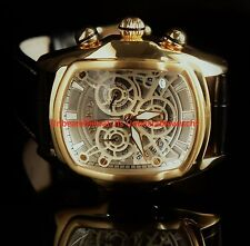 Invicta Mens Dragon Lupah White Dial Chrono 18KT Gold-Plated Leather Strap Watch