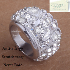 Stainless Steel 316L Engagement Ring Sparkling Swarovski Crystals Silver Boxed