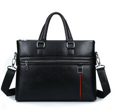 Mens Leather Laptop Handbag Briefcase Messenger Shoulder Bag Business Bag Black
