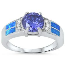 Round Tanzanite, Cz & Blue Opal .925 Sterling Silver Ring sizes 6-9