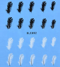 Feathers White&Black  Water Transfers Nail Art Stickers Decals Tips Decoration