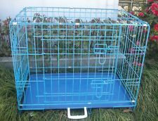 "New 30"" 2 Door Blue Folding Suitcase Dog Crate Cage Kennel LC ABS Pan"
