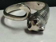 Adorable Ladies Sterling Silver Ring - Cat Design - Mint Condition!- Size 6.5