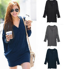 Fashion Women Batwing Long Sleeve V-neck Loose Casual Button Blouse T Shirt Tops