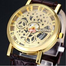 Steampunk Skeleton Stainless Steel Mechanical Dial Leather Quartz Wrist Watch UK