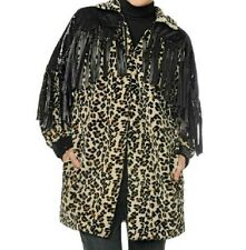 Adrienne Landau Faux Leopard Fur & Fringe Coat Jacket $189.90 RUNS LARGE