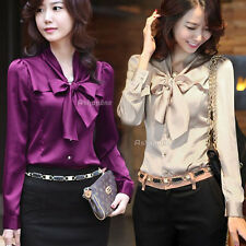 Fashion New Womens Ladies Long Sleeve Bowknot Bow Ruffle Collar Blouse Shirt Top