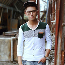 Mens Long Sleeve V-Neck Cotton Tee Shirt Button Stylish Slim Fit Casual T-Shirts