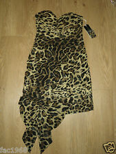 Forever Unique Tameka Party Dress Ruched Leopard Print Brown Bandeau UK 10 New