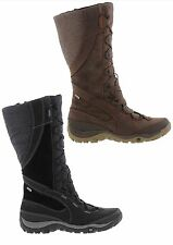 Merrell Dewbrook Peak Womens Black Brown Leather Waterproof Zip Boots