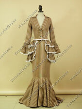 Edwardian Victorian Bustle 3PC Stripe Prom Dress Theater Reenactment Costume 328