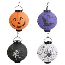 LED Paper Halloween Pumpkin Spider Bat Hanging Lantern Evil Light Lamp Party DIY