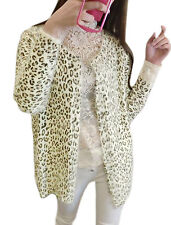 Ladies Buttonless Leopard Prints Casual Knit Cardigan