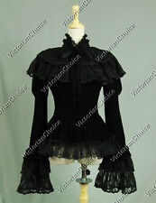 Victorian Black Velvet Steampunk Blouse Jacket with Cape Cosplay Theater C034