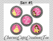 Bottle Cap Magnets/ Set of 5/Disney Beauty and the Beast Inspired/Packaged/Belle