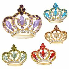 Fashion Rhinestone Crystal Women Jewelry Gold Tone Crown Royal Brooch Pin Gifts