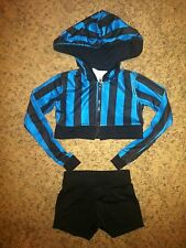Marcea Blue Black Costume Dance Jazz Long Sleeve Jacket Booty Shorts Girls 4-6