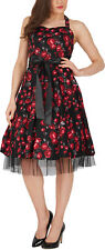 'Rhya' Vintage Harmony 50's Black Floral Swing Pin-Up Rockabilly Prom Dress