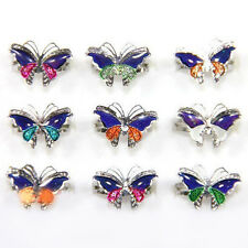 Lots 5/10pcs Mood Change Butterfly Charm Silver Plated Finger Rings Adjustable