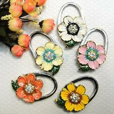 Daisy Flower Shape Rhinestone Purse Tote Handbag Bag Table Hook Hanger Holder