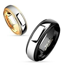 Stainless Steel Milled Edge Two Tone Band Ring Size 5-12 (Choose Color)