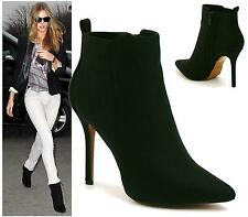 WOMENS POINTED TOE HIGH HEEL STILETTO CHELSEA ANKLE BOOTS SHOES SIZE 3-8