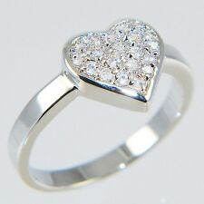 0.20CTW ROUND BRILLIANT STONES *HEART* ENGAGEMENT BRIDAL RING size #5,10