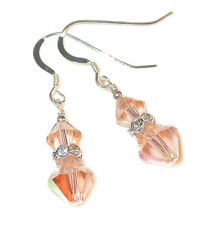 PEACH Crystal Earrings Sterling Silver Dangle Swarovski Elements