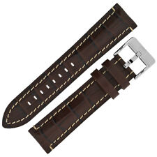 BROWN Padded Alligator Embossed Calfskin Di-Modell BALI CHRONO Watch Strap