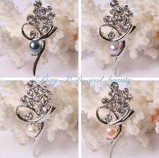 Pretty  Freshwater Pearl Beads White Gold Plated Pin Brooch Seed-Beauty SD4541-V