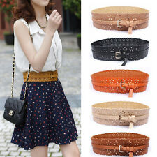 Fashion Women Belts Hollow Flower Leather Belt Wide Dress Waist Belt Waistband