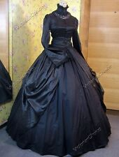 Victorian Dress Black Brocade Gothic Theater Reenactment Steampunk Clothing 156