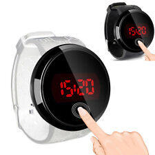 LED Touch Screen Mens Waterproof Fashion Watch Date Silicone Wrist Black Watch