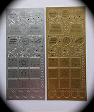 HAPPY BIRTHDAY PEEL OFFs Cardmaking Craft Stickers VARIOUS DESIGNS Silver Gold