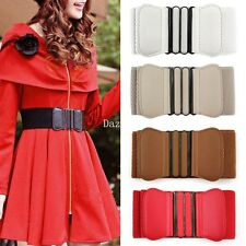 New Fashion Women Faux Leather Wide Elastic Skinny Buckle Stretch waist belt 2U