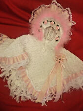 DREAM GIRLS ROMANY WHITE PINK ROSES FRILLY HOODED CAPE ALL SIZES AVAILABLE