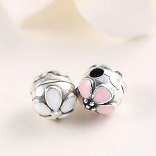 925 Solid Sterling Silver Daisy Clip Bead fit European Charm Beads Bracelet DY2K