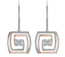 Excellent I1/G 1.80Ct Round Diamond 14K Two-Tone Gold Dangle Chandelier Earrings