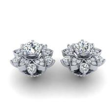 Solitaire Studs Earrings I1 H 2.30Ct Round Cut Diamond 14Kt Solid Gold Prong Set