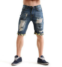 Casual Mens Jeans Shorts Denim Shorts Patched Ripped Distressed Destroyed Washed