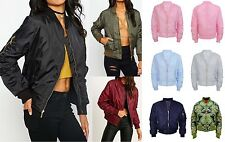 NEW LADIES VINTAGE JACKET GIRLS WOMENS CLASSIC ZIP UP BOMBER JACKET
