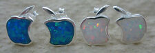 XMAS - 925 STERLING SILVER Bitten APPLE Stud Created OPAL Blue/White Earrings