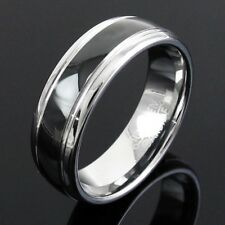 CLOSEOUT! Tungsten Milgrained Black Stripe Wedding Band Ring 7mm Size 9-12