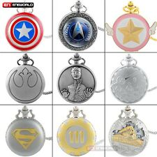 Vintage Silver Stainless Steel Necklace Pocket Watch Quartz Pendant Chain Gift