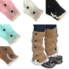 New Kid Girl Crochet Knitted Lace Boot Cuffs Toppers Leg Warmer Socks Ornate Hot