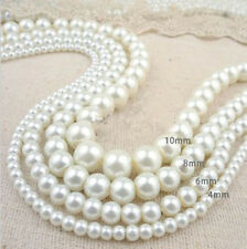 Wholesale Lots Glass Pearl Round Spacer Loose Beads 4mm/6mm/8mm/10mm A1