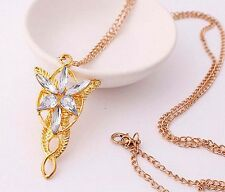 LOTR Lord Of The Rings Hobbit Arwen EVENSTAR Necklace Pendant Silver + Gold