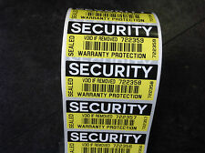 Warranty protection COLOUR security seals labels-  tamper evident stickers 70x30